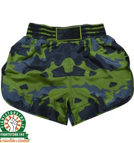 Adidas Camo Thai Boxing Shorts - Black/Green/Blue
