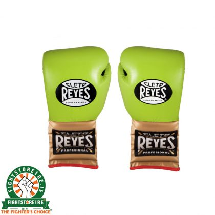 Cleto Reyes Lace Up Limited Edition Sparring Gloves - Lime Green/Gold