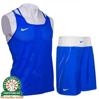 Nike Competition Boxing Vest & Shorts Set - Blue