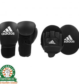 Adidas Adults Boxing Gloves And Focus Mitts Set