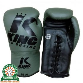 King Leather Lace Up Gloves - Green