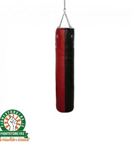 Super Pro 4ft Leather Punch Bag - Black/Red