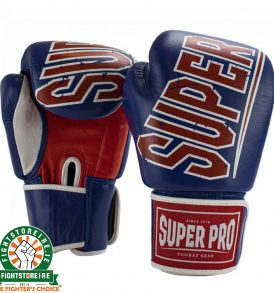 Super Pro Challenger Leather Kickboxing Gloves - Blue