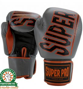 Super Pro Challenger Leather Kickboxing Gloves - Grey