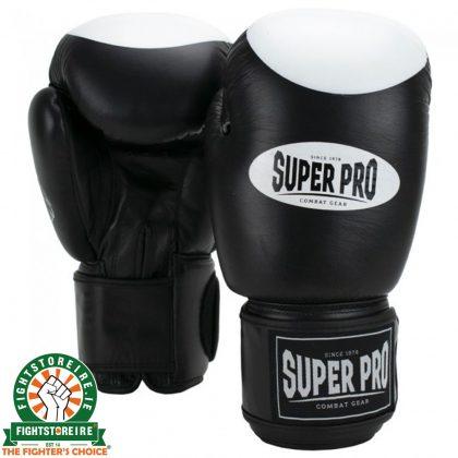Super Pro Velcro Boxing Gloves - Black/White