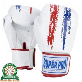 Super Pro Warrior Leather Kickboxing Gloves - White