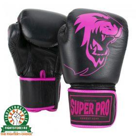 Super Pro Warrior Leather Kickboxing Gloves - Black/Pink