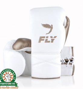 Fly SUPERLACE Training Boxing Gloves - White/Gold