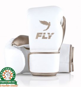Fly Superloop Training Boxing Gloves - White/Gold