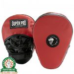 Super Pro Leather Curved Hook and Jab Pad - Black / Red