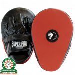 Super Pro Leather Flat Hook and Jab Pads - Black / Red