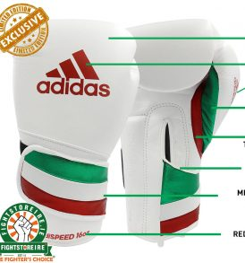 Adidas adiSpeed Limited Edition Velcro Boxing Gloves - White/Green/Red
