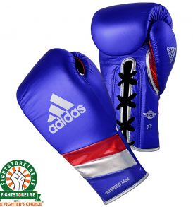 Adidas adiSpeed Lace Boxing Gloves Metallic - Blue | Fightstore IRELAND