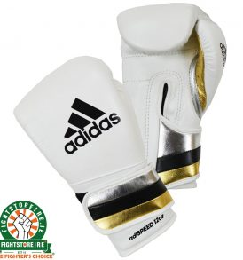 Adidas adiSpeed Velcro Boxing Gloves - White/Gold