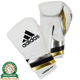 Adidas adiSpeed Velcro Boxing Gloves - White/Gold