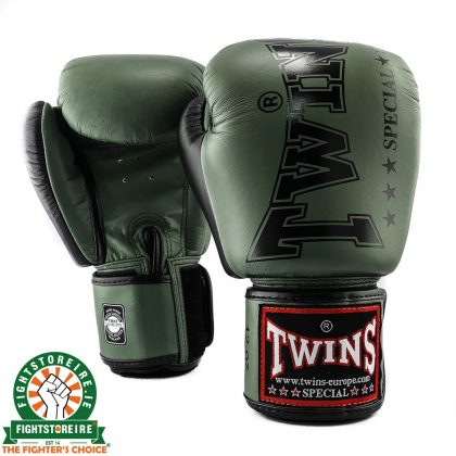 Twins BGVL 8 Thai Boxing Gloves - Olive Green/Black